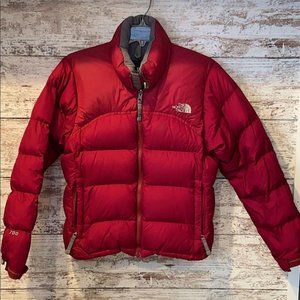 North Face Womens XS Red Nuptse Puffer Jacket Coat